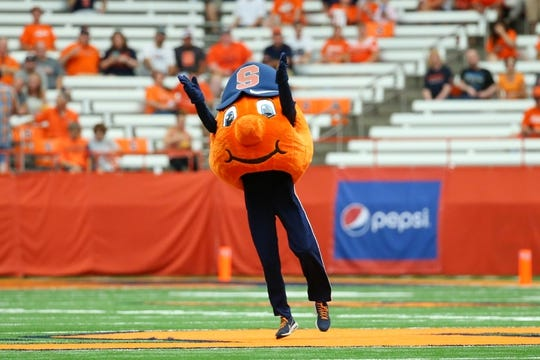 Sep 15, 2018; Syracuse, NY, USA; Syracuse Orange mascot Otto performs prior to the game against the Florida State Seminoles at the Carrier Dome. Mandatory Credit: Rich Barnes-USA TODAY Sports