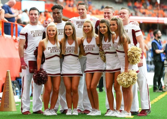 Sep 15, 2018; Syracuse, NY, USA; Florida State Seminoles cheerleaders pose for a photo prior to the game against the Syracuse Orange at the Carrier Dome. Mandatory Credit: Rich Barnes-USA TODAY Sports