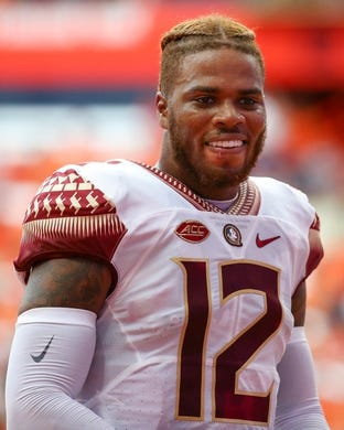 Sep 15, 2018; Syracuse, NY, USA; Florida State Seminoles defensive back A.J. Lytton (12) walks off the field prior to the game against the Syracuse Orange at the Carrier Dome. Mandatory Credit: Rich Barnes-USA TODAY Sports