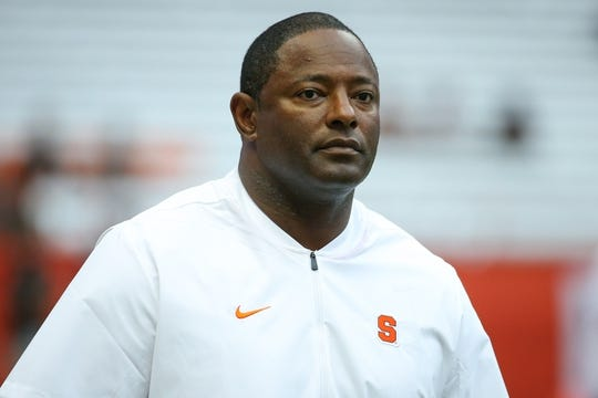Sep 15, 2018; Syracuse, NY, USA; Syracuse Orange head coach Dino Babers walks on the field prior to the game against the Florida State Seminoles at the Carrier Dome. Mandatory Credit: Rich Barnes-USA TODAY Sports