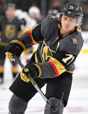 Sep 16, 2018; Las Vegas, NV, USA; Vegas Golden Knights center William Karlsson (71) warms up before a pre-season game against the Arizona Coyotes at T-Mobile Arena. Mandatory Credit: Stephen R. Sylvanie-USA TODAY Sports