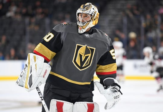 Sep 16, 2018; Las Vegas, NV, USA; Vegas Golden Knights goaltender Zach Fucale (50) is pictured during warm ups before a pre-season game against the Arizona Coyotes at T-Mobile Arena. Mandatory Credit: Stephen R. Sylvanie-USA TODAY Sports
