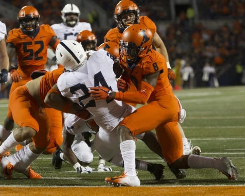 Sep 21, 2018; Champaign, IL, USA; Illinois Fighting Illini defensive back Nate Hobbs (8) is unable to keep Penn State Nittany Lions running back Miles Sanders (24) from crossing the goal line during the first quarter at Memorial Stadium. Mandatory Credit: Mike Granse-USA TODAY Sports