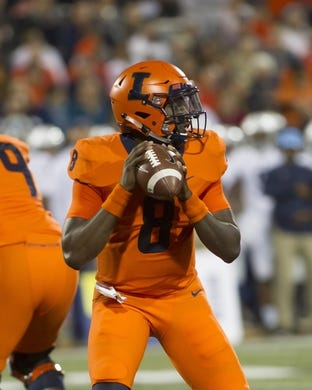 Sep 21, 2018; Champaign, IL, USA; Illinois Fighting Illini quarterback M.J. Rivers II (8) drops back to pass against the Penn State Nittany Lions during the first quarter at Memorial Stadium. Mandatory Credit: Mike Granse-USA TODAY Sports