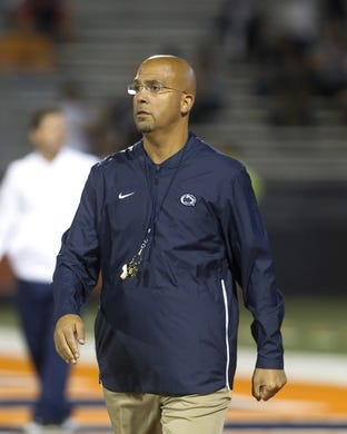 Sep 21, 2018; Champaign, IL, USA; Penn State Nittany Lions head coach James Franklin observes his team before a game against the Illinois Fighting Illini at Memorial Stadium. Mandatory Credit: Mike Granse-USA TODAY Sports