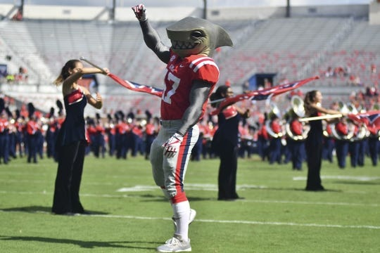 Sep 22, 2018; Oxford, MS, USA; Mississippi Rebels mascot Tony performs before the game against the Kent State Golden Flashes at Vaught-Hemingway Stadium. Mandatory Credit: Matt Bush-USA TODAY Sports
