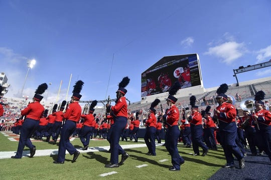 Sep 22, 2018; Oxford, MS, USA; Members of the University of Mississippi band, Pride of the South, perform before the game against the Kent State Golden Flashes at Vaught-Hemingway Stadium. Mandatory Credit: Matt Bush-USA TODAY Sports