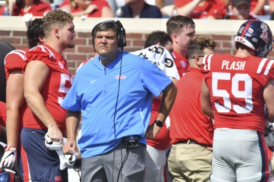 Sep 22, 2018; Oxford, MS, USA; Mississippi Rebels head coach Matt Luke walks on the sideline during the first quarter of the game against the Kent State Golden Flashes at Vaught-Hemingway Stadium. Mandatory Credit: Matt Bush-USA TODAY Sports