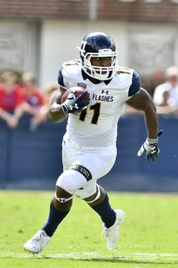 Sep 22, 2018; Oxford, MS, USA;  Kent State Golden Flashes running back Justin Rankin (11) runs the ball against the Mississippi Rebels during the third quarter at Vaught-Hemingway Stadium. Mandatory Credit: Matt Bush-USA TODAY Sports