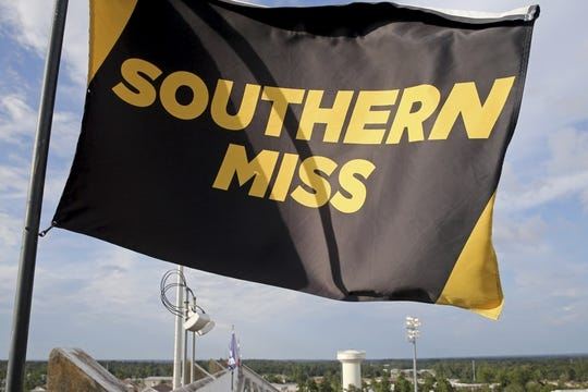 Sep 22, 2018; Hattiesburg, MS, USA; The Southern Miss Golden Eagles flag flies above M. M. Roberts Stadium before the game between the Southern Miss and the Rice Owls. Mandatory Credit: Chuck Cook-USA TODAY Sports