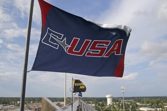 Sep 22, 2018; Hattiesburg, MS, USA; The C-USA flag flies above M. M. Roberts Stadium before the game between the Southern Miss Golden Eagles and the Rice Owls. Mandatory Credit: Chuck Cook-USA TODAY Sports