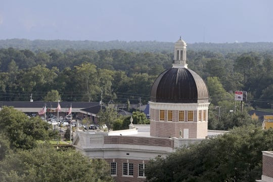 Sep 22, 2018; Hattiesburg, MS, USA; The Lucas Administration building on the University of Southern Mississippi campus before the game between the Southern Miss Golden Eagles and the Rice Owls at M. M. Roberts Stadium. Mandatory Credit: Chuck Cook-USA TODAY Sports