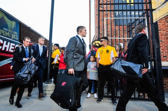 Sep 22, 2018; Iowa City, IA, USA; The Wisconsin Badgers enter Kinnick Stadium before the game against the Iowa Hawkeyes. Mandatory Credit: Jeffrey Becker-USA TODAY Sports