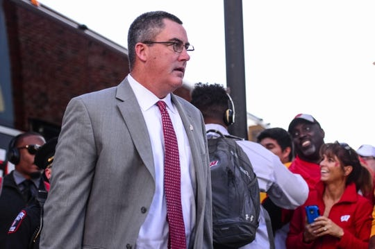 Sep 22, 2018; Iowa City, IA, USA; Wisconsin Badgers head coach Paul Chryst enters Kinnick Stadium before the game against the Iowa Hawkeyes. Mandatory Credit: Jeffrey Becker-USA TODAY Sports