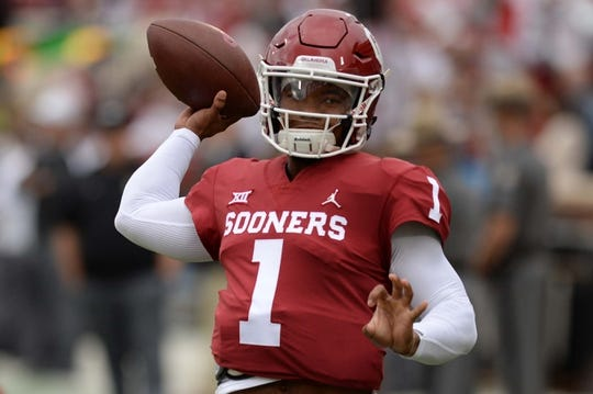Sep 22, 2018; Norman, OK, USA; Oklahoma Sooners quarterback Kyler Murray (1) warms up prior to action against the Army Black Knights at Gaylord Family - Oklahoma Memorial Stadium. Mandatory Credit: Mark D. Smith-USA TODAY Sports