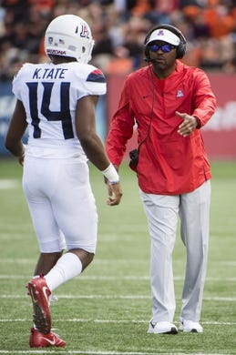 Sep 22, 2018; Corvallis, OR, USA; Arizona Wildcats head coach Kevin Sumlin greets Arizona Wildcats quarterback Khalil Tate (14) during the second half at Reser Stadium. The Arizona Wildcats won 35-14. Mandatory Credit: Troy Wayrynen-USA TODAY Sports