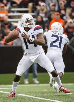 Sep 22, 2018; Corvallis, OR, USA; Arizona Wildcats quarterback Khalil Tate (14) throws a pass during the first half against the Oregon State Beavers at Reser Stadium. The Arizona Wildcats won 35-14. Mandatory Credit: Troy Wayrynen-USA TODAY Sports