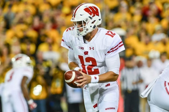 Sep 22, 2018; Iowa City, IA, USA; Wisconsin Badgers quarterback Alex Hornibrook (12) looks to hand the ball off during the first quarter against the Iowa Hawkeyes at Kinnick Stadium. Mandatory Credit: Jeffrey Becker-USA TODAY Sports