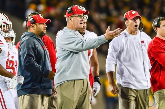 Sep 22, 2018; Iowa City, IA, USA; Wisconsin Badgers head coach Paul Chryst reacts during the first quarter against the Iowa Hawkeyes at Kinnick Stadium. Mandatory Credit: Jeffrey Becker-USA TODAY Sports