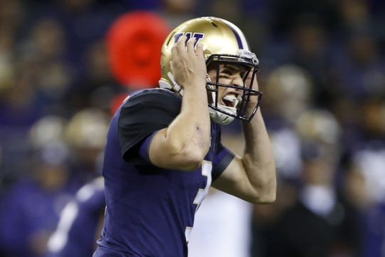 Sep 22, 2018; Seattle, WA, USA; Washington Huskies quarterback Jake Browning (3) yells out against the Arizona State Sun Devils during the first quarter at Husky Stadium. Mandatory Credit: Jennifer Buchanan-USA TODAY Sports