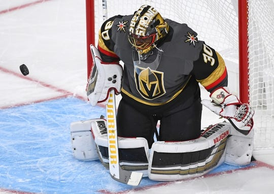 Sep 24, 2018; Las Vegas, NV, USA; Vegas Golden Knights goaltender Malcolm Subban (30) makes a save during the first period against the Colorado Avalanche at T-Mobile Arena. Mandatory Credit: Stephen R. Sylvanie-USA TODAY Sports