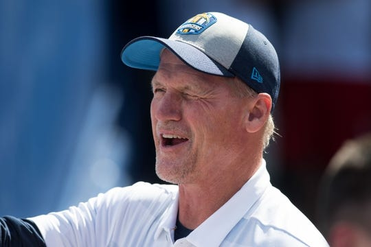 Sep 16, 2018; Orchard Park, NY, USA; Los Angeles Chargers offensive coordinator Ken Whisenhunt on the sideline prior to a game against the Buffalo Bills at New Era Field. Mandatory Credit: Mark Konezny-USA TODAY Sports