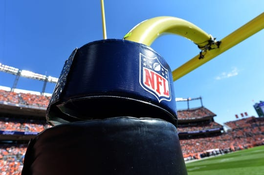 Sep 16, 2018; Denver, CO, USA; Detailed view of a NFL emblem on a field goal post inside Broncos Stadium at Mile High during the game between the Oakland Raiders and the Denver Broncos. Mandatory Credit: Ron Chenoy-USA TODAY Sports