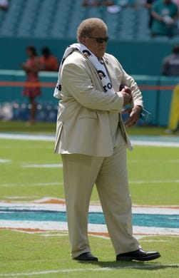 Sep 23, 2018; Miami Gardens, FL, USA; Oakland Raiders general manager Reggie McKenzie reacts during the game against the Miami Dolphins at Hard Rock Stadium. Mandatory Credit: Kirby Lee-USA TODAY Sports