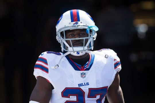 Sep 16, 2018; Orchard Park, NY, USA; Buffalo Bills cornerback Tre'Davious White (27) enters the field prior to a game against the Los Angeles Chargers at New Era Field. Mandatory Credit: Mark Konezny-USA TODAY Sports