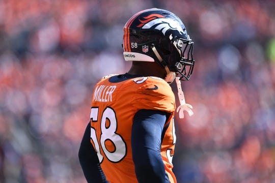 Sep 16, 2018; Denver, CO, USA; Denver Broncos linebacker Von Miller (58) during the second quarter against the Oakland Raiders at Broncos Stadium at Mile High. Mandatory Credit: Ron Chenoy-USA TODAY Sports