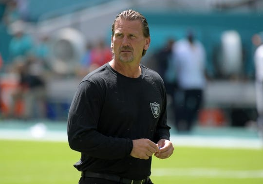 Sep 23, 2018; Miami Gardens, FL, USA; Oakland Raiders offensive coordinator Greg Olson reacts during the game against the Miami Dolphins at Hard Rock Stadium. The Dolphins defeated the Raiders 28-20. Mandatory Credit: Kirby Lee-USA TODAY Sports