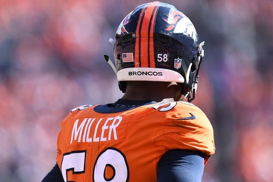 Sep 16, 2018; Denver, CO, USA; Detailed view of Denver Broncos linebacker Von Miller (58) during the second quarter against the Oakland Raiders at Broncos Stadium at Mile High. Mandatory Credit: Ron Chenoy-USA TODAY Sports