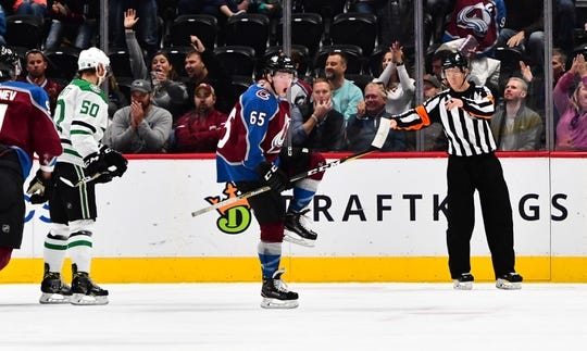 Sep 26, 2018; Denver, CO, USA; Colorado Avalanche left wing Ty Lewis (65) celebrates after scoring a goal against the Dallas Stars during the first period at Pepsi Center. Mandatory Credit: Ron Chenoy-USA TODAY Sports