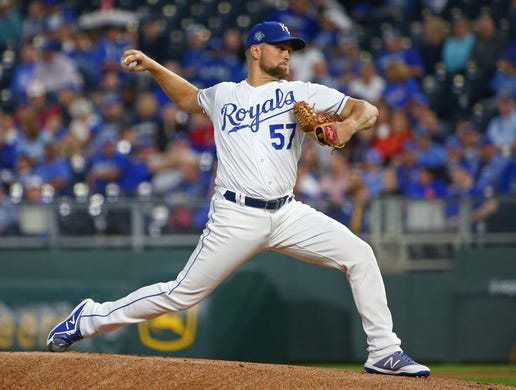 Sep 27, 2018; Kansas City, MO, USA; Kansas City Royals starting pitcher Glenn Sparkman (57) pitches against the Cleveland Indians in the first inning at Kauffman Stadium. Mandatory Credit: Jay Biggerstaff-USA TODAY Sports