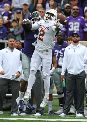 Sep 29, 2018; Manhattan, KS, USA; Texas Longhorns defensive back Kris Boyd (2) breaks up a pass intended for Kansas State Wildcats wide receiver Isaiah Zuber during the first quarter at Bill Snyder Family Stadium. Mandatory Credit: Scott Sewell-USA TODAY Sports