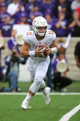 Sep 29, 2018; Manhattan, KS, USA; Texas Longhorns quarterback Sam Ehlinger (11) drops back to pass during the second quarter against the Kansas State Wildcats at Bill Snyder Family Stadium. Mandatory Credit: Scott Sewell-USA TODAY Sports
