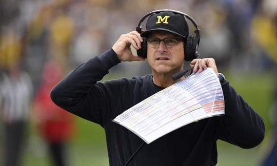 Sep 29, 2018; Evanston, IL, USA; Michigan Wolverines head coach head coach Jim Harbaugh during the game against the Northwestern Wildcats at Ryan Field. Mandatory Credit: Quinn Harris-USA TODAY Sports