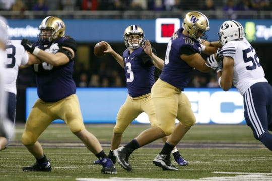 Sep 29, 2018; Seattle, WA, USA; Washington Huskies quarterback Jake Browning (3) passes against the Brigham Young Cougars during the second quarter at Husky Stadium. Mandatory Credit: Jennifer Buchanan-USA TODAY Sports