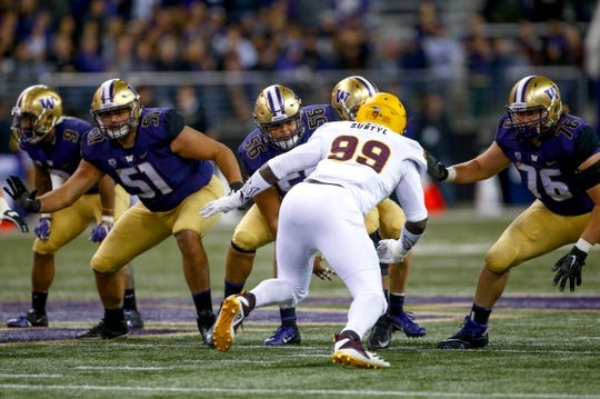 Sep 22, 2018; Seattle, WA, USA; The Washington Huskies offensive line (from left) Jaxson Kirkland (51), Nick Harris (56) and offensive lineman Luke Wattenberg (76) in action against the Arizona State Sun Devils during the third quarter at Husky Stadium. Mandatory Credit: Jennifer Buchanan-USA TODAY Sports