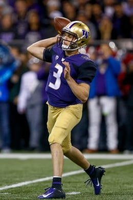 Sep 22, 2018; Seattle, WA, USA; Washington Huskies quarterback Jake Browning (3) looks to pass during the second quarter at Husky Stadium. Mandatory Credit: Jennifer Buchanan-USA TODAY Sports
