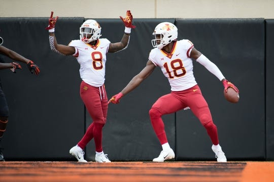 Oct 6, 2018; Stillwater, OK, USA; Iowa State Cyclones wide receiver Hakeem Butler (18) reacts after making a touchdown catch against the Oklahoma State Cowboys during the first quarter at Boone Pickens Stadium. Mandatory Credit: Rob Ferguson-USA TODAY Sports