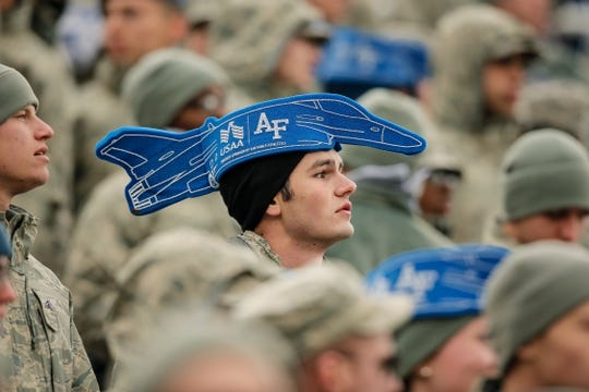 Oct 6, 2018; Colorado Springs, CO, USA; An Air Force cadet watches during the first quarter against the Navy Midshipmen at Falcon Stadium. Mandatory Credit: Isaiah J. Downing-USA TODAY Sports