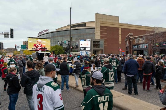 Oct 6, 2018; Saint Paul, MN, USA; Fans gather for Hocktoberfest before the game between the Minnesota Wild and Las Vegas Golden Knights at Xcel Energy Center. Mandatory Credit: Brad Rempel-USA TODAY Sports