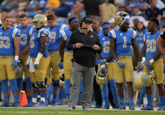 Oct 6, 2018; Pasadena, CA, USA; UCLA Bruins head coach Chip Kelly reacts in the second quarter against the Washington Huskies  at Rose Bowl. Mandatory Credit: Kirby Lee-USA TODAY Sports