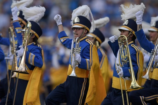 Oct 6, 2018; Pasadena, CA, USA; Members of the UCLA Bruins marching band perform during the game against the Washington Huskies at Rose Bowl. Mandatory Credit: Kirby Lee-USA TODAY Sports