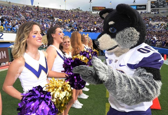Oct 6, 2018; Pasadena, CA, USA; Washington Huskies mascot Harry interacts with cheerleaders during the game against the UCLA Bruins at Rose Bowl. Mandatory Credit: Kirby Lee-USA TODAY Sports