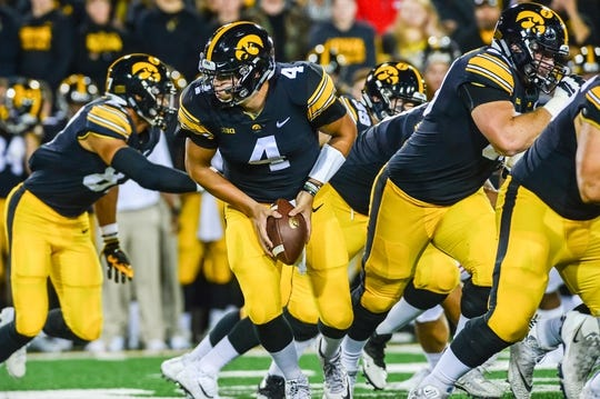 Sep 22, 2018; Iowa City, IA, USA; Iowa Hawkeyes quarterback Nate Stanley (4) in action during the game against the Wisconsin Badgers at Kinnick Stadium. Mandatory Credit: Jeffrey Becker-USA TODAY Sports