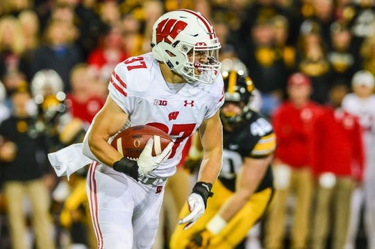 Sep 22, 2018; Iowa City, IA, USA; Wisconsin Badgers running back Garrett Groshek (37) in action during the game against the Iowa Hawkeyes at Kinnick Stadium. Mandatory Credit: Jeffrey Becker-USA TODAY Sports