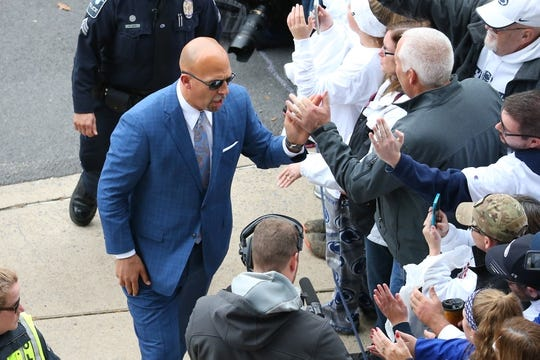 Oct 13, 2018; University Park, PA, USA; Penn State Nittany Lions head coach James Franklin greets fans prior to the game against the Michigan State Spartans at Beaver Stadium. Mandatory Credit: Rich Barnes-USA TODAY Sports