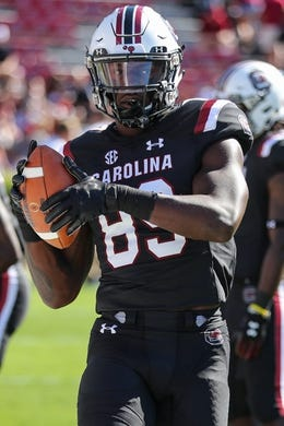 Oct 13, 2018; Columbia, SC, USA;  South Carolina Gamecocks wide receiver Bryan Edwards (89) makes a catch during warm ups against the Texas A&M Aggies at Williams-Brice Stadium. Mandatory Credit: Jim Dedmon-USA TODAY Sports